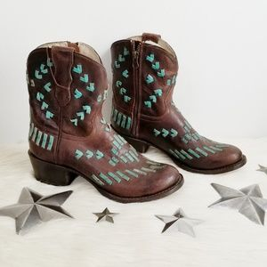 Stetson Maddie Boots turquoise brown short round
